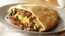 Spinach and Sausage Breakfast Pita