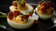Sriracha Sausage Deviled Eggs