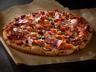 Canadian Bacon & Sweet Potato Pizza