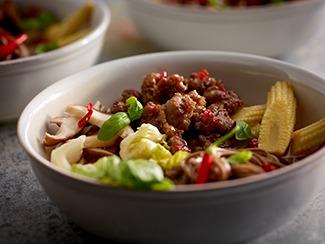 Sweet Sausage Noodle Bowl
