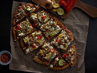 Beef & Roasted Veggie Pizza