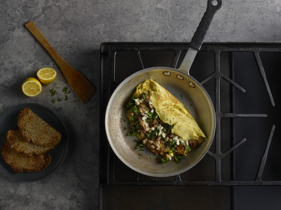 Sausage, Kale, Mushroom & Feta Omelet