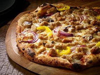 Golden Mushroom Sausage Pizza