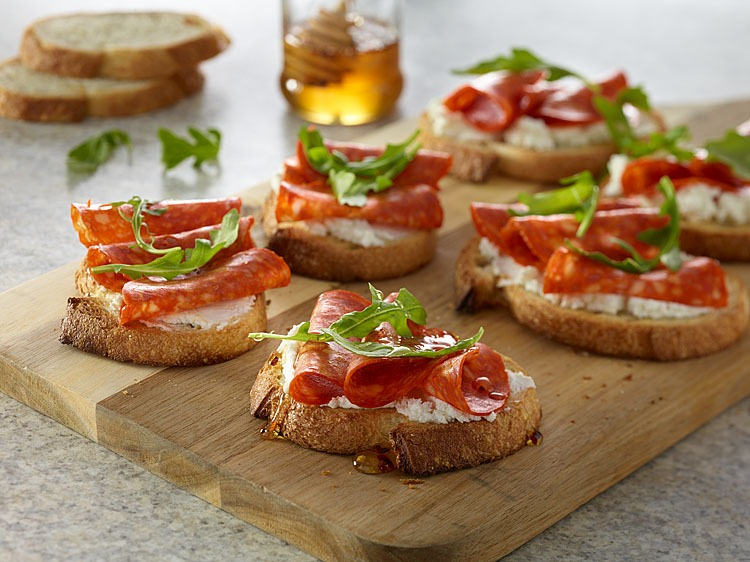 Pepperoni and Goat Cheese Appetizer