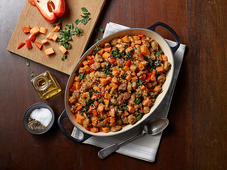 Sweet Potato Sausage Succotash